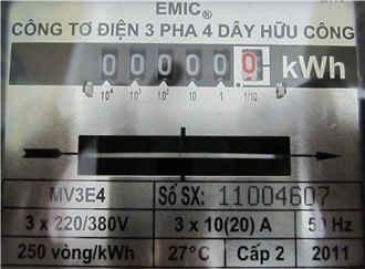 chỉ số công tơ điện 3 pha trực tiếp 20A