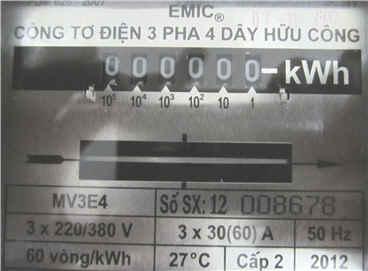 chỉ số công tơ điện 3 pha trực tiếp 60A
