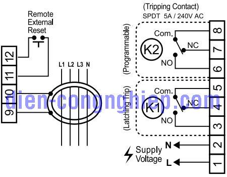 Sơ đồ nối dây relay bảo vệ dòng rò TM-18c