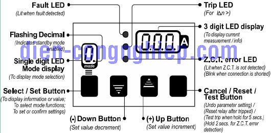 Phím chức năng relay bảo vệ dòng rò TM-18c