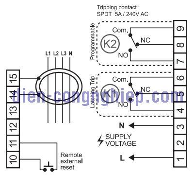 Sơ đồ nối dây relay bảo vệ dòng rò TM-8000s