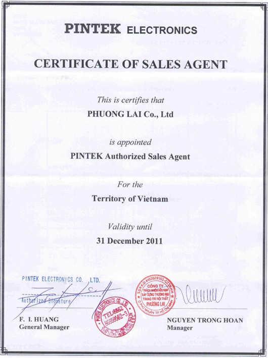 Chứng nhận Phương Lai là đại lý bán hàng Pintek